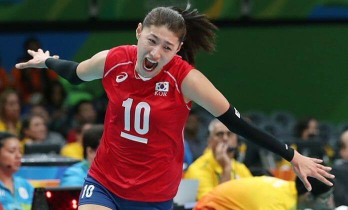 Kim Yeon Koung, Capitão Da Equipe De Voleibol Femenino, Comemora Depois De Marcar Um Ponto No Grupo A Do Torneio Contra O Japão No 6 De Agosto. Coreia Derrotou O Japão Com Uma Pontuação De 3-1.
