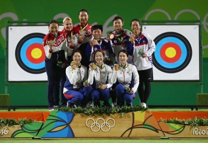 Atletas Da Coreia, Rússia E Taipei Após Conquistarem Suas Medalhas. Foto: Getty Images/Olympic.org