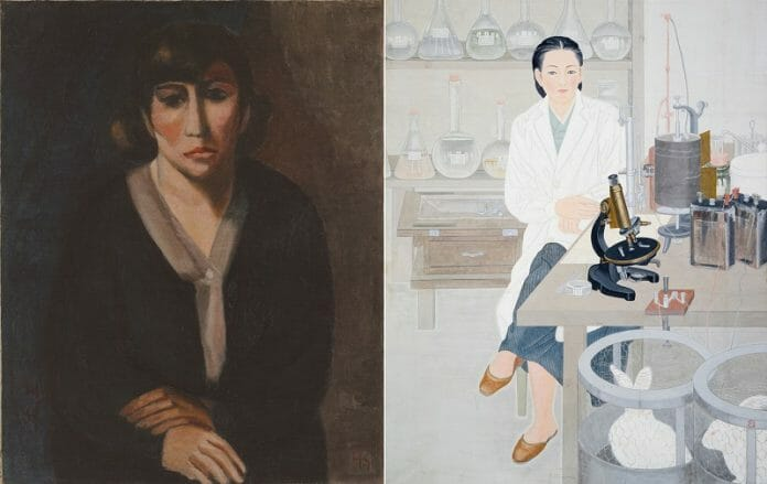 Obra &Quot;Self-Portrait&Quot; (1928) De Na Hye-Seok, Ao Lado De &Quot;A Pair Of Modern Women: Thinking Of Research In Lab&Quot; (1994) De Lee Yoo-Tae. Imagens: Mmca/Korea Times