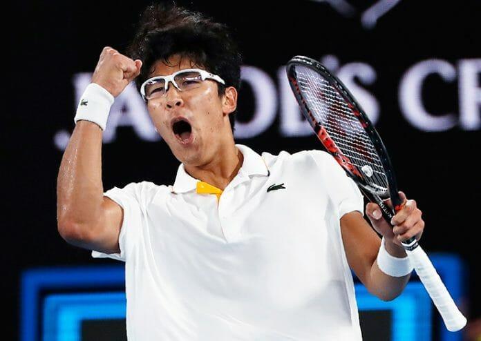 Chung Hyeon Comemora Sua Vitória.