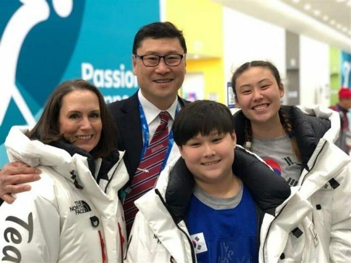 Jim Paek E Sua Família Nas Olímpiadas De Peyongchang 2018.