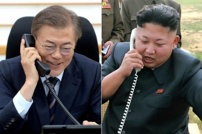 O Presidente Sul-Coreano Moon Jae-In, À Esquerda, E O Líder Norte-Coreano Kim Jong-Un, À Direita. Imagem: The Korea Herald/Yonhap.