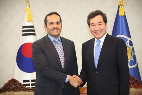 O Ministro Do Qatar E O Primeiro-Ministro Sul-Coreano, Lee Nak-Yon. Foto: Yonhap