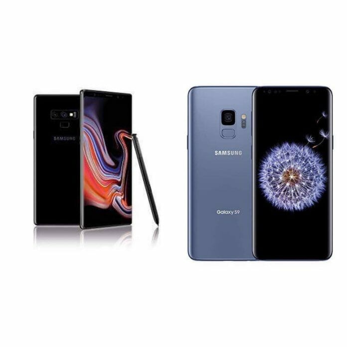 A Esquerda O Galaxy Note 9 E A Direita O Galaxy S9
